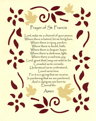 St Francis prayer, image
