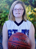 Gretchen holding basketball, image