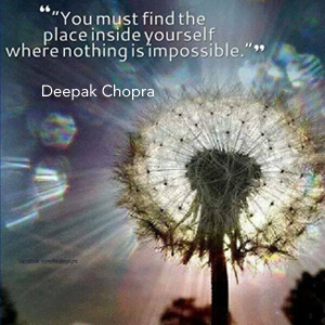 Deepak quote with dandelion, image