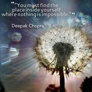 Deepak quote with dandelion, image