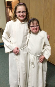 Adrienne and Kayley, altar servers