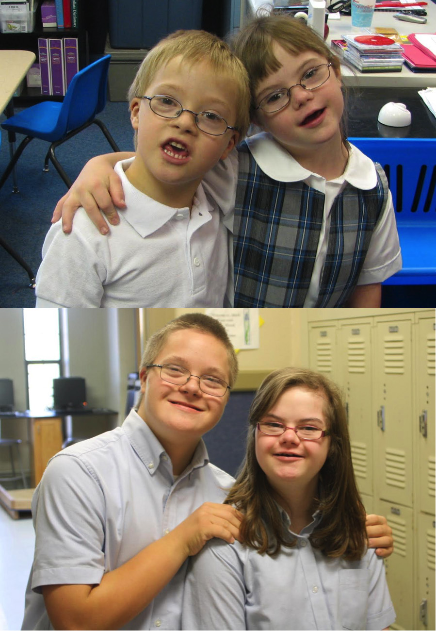 Aaron and Haley who began their Catholic school journey in kindergarten together at Marquette Catholic School in Tulsa, Oklahoma and now are 8th graders. They both participate in the RISE program at Marquette – an inclusive support program.