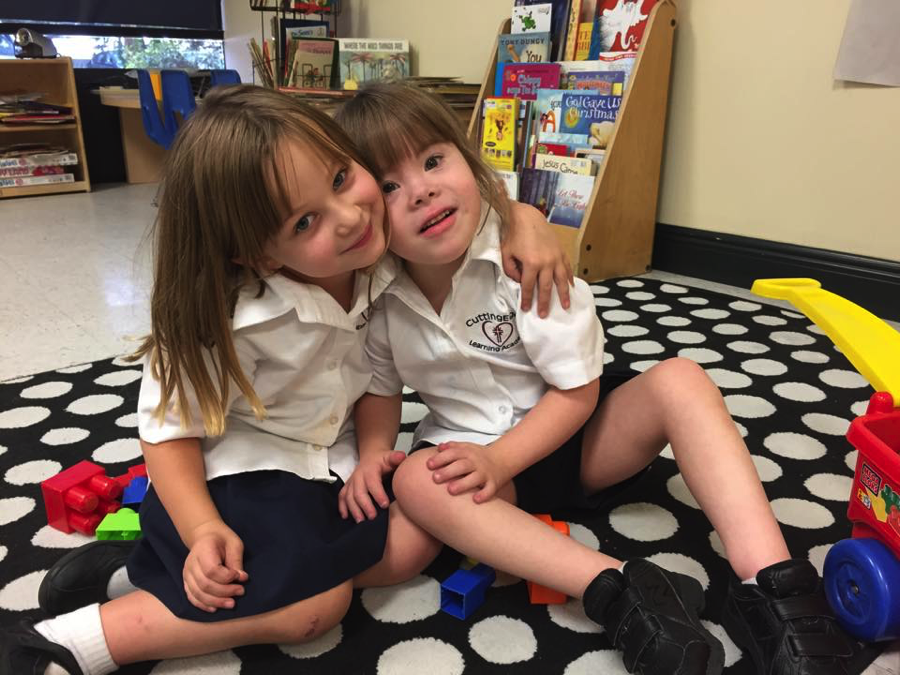 Lucy (left) and friend in Kindergarten at The Cutting Edge Learning Academy in Valrico, Florida.