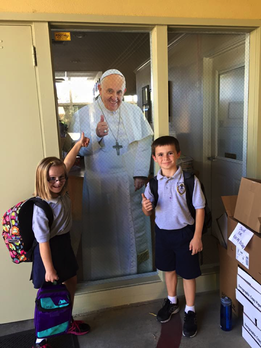 Mia and Dominic – brother and sister – welcoming Pope Francis to St. Rose in Roseville, California! Love it. ☺