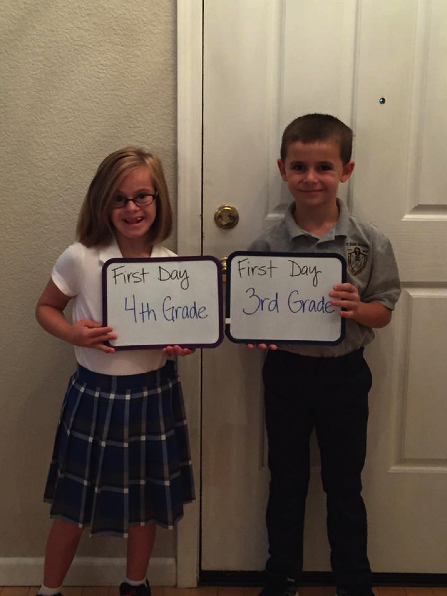 Mia and Dominic begin the school year at St. Rose in Roseville, California