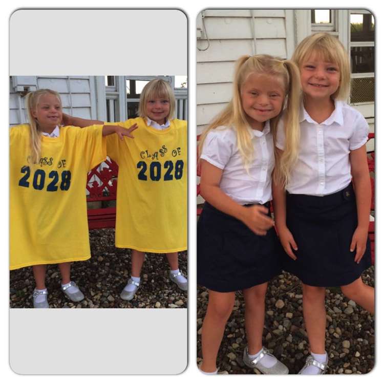 RayLee (left) and Sophie (right) who began their Catholic school days at Blessed Sacrament Catholic School in Quincy, Illinois
