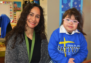 Lily with her kindergarten teacher, Josefina Huidor, at Nativity Catholic School in El Monte, CA