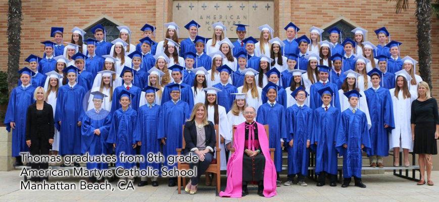 Thomas graduates from 8th grade, American Martyrs School, CA